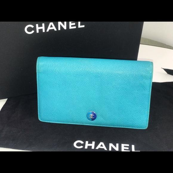 Authentic Chanel teal yen long wallet organizer